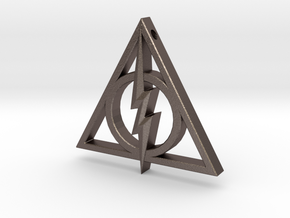 Deathly Hallows - Lightning Bolt in Polished Bronzed Silver Steel