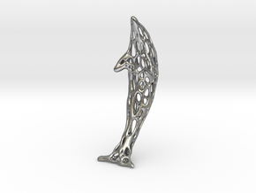 Shapeways-Silver-Dolphin-Straight-tr1-thicker1 in Natural Silver