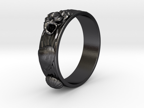 Sea Shell Ring 1 - US-Size 9 1/2 (19.41 mm) in Polished and Bronzed Black Steel
