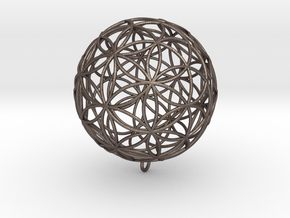 Pendant 35mm Flower Of Life in Polished Bronzed Silver Steel