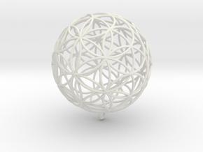 Pendant 55mm Flower Of Life in White Natural Versatile Plastic