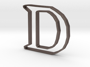 Typography Pendant D in Polished Bronzed Silver Steel