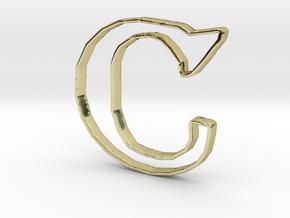 Typography Pendant C in 18k Gold