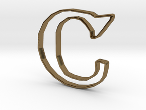 Typography Pendant C in Polished Bronze