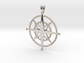 Compass Rose Pendant in Platinum