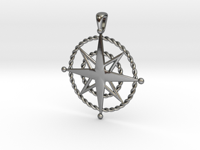 Compass Rose Pendant in Fine Detail Polished Silver