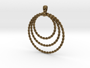Three Rope Pendant/ Necklace in Polished Bronze