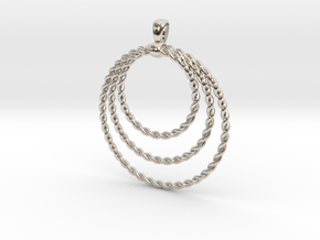 Three Rope Pendant/ Necklace in Rhodium Plated Brass