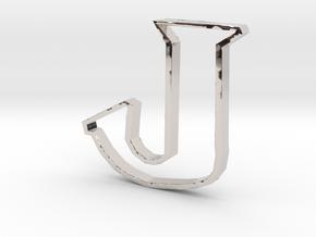 Typography Pendant J in Rhodium Plated Brass