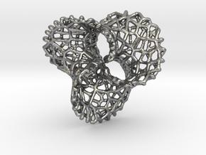 Scherk 7 Voronoi Mesh Pendant - 25mm in Natural Silver