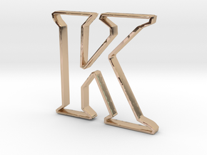 Typography Pendant K in 14k Rose Gold Plated Brass