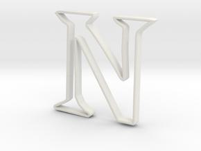 Typography Pendant N in White Natural Versatile Plastic