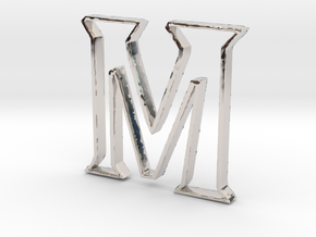 Typography Pendant M in Rhodium Plated Brass