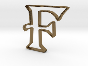 Typography Pendant F in Polished Bronze