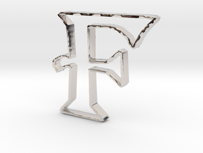 Typography Pendant F in Platinum