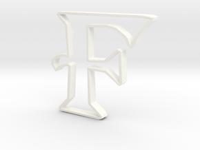 Typography Pendant F in White Processed Versatile Plastic
