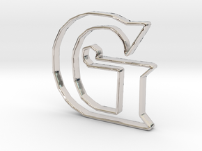 Typography Pendant G in Rhodium Plated Brass