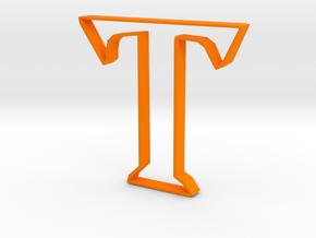Typography Pendant T in Orange Processed Versatile Plastic