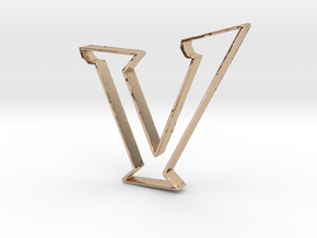 Typography Pendant V in 14k Rose Gold Plated Brass