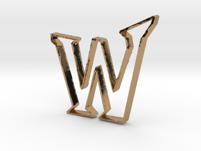 Typography Pendant W in Polished Brass