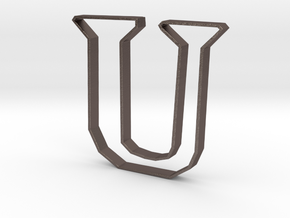 Typography Pendant U in Polished Bronzed Silver Steel