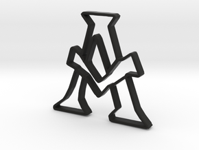 Typography Pendant A in Black Natural Versatile Plastic