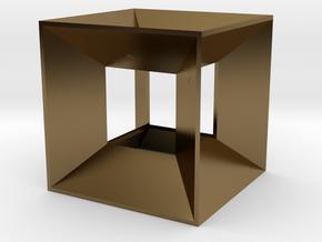 Hypercube Pendant in Polished Bronze