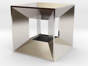 Hypercube Pendant in Rhodium Plated Brass