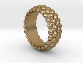 Big Bubble Ring 18 - Italian Size 18 in Polished Gold Steel