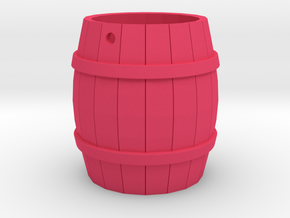 Wooden Barrel Keychain in Pink Processed Versatile Plastic