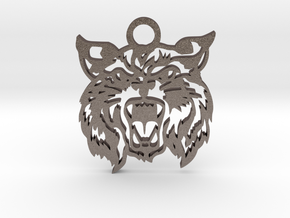 Bobcat amulet in Polished Bronzed Silver Steel