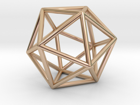 0026 Icosahedron E (5 cm) in 14k Rose Gold Plated Brass
