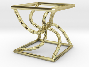 0051 Line Design Cube (5 cm) #003 in 18k Gold Plated Brass