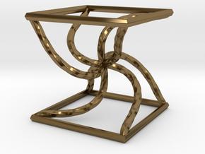 0051 Line Design Cube (5 cm) #003 in Polished Bronze