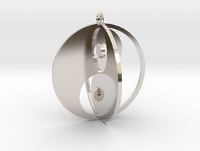 Yin Yang Keychain 1 in Platinum