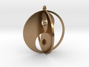 Yin Yang Keychain 1 in Natural Brass