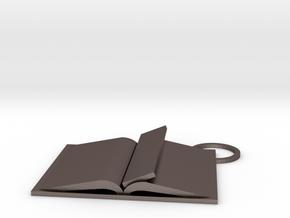 Book Keychain Custom in Polished Bronzed Silver Steel