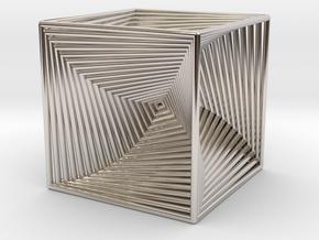 0299 Cube Line Design (full color, 5.5 cm) #003 in Rhodium Plated Brass