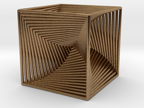 0299 Cube Line Design (full color, 5.5 cm) #003 in Natural Brass