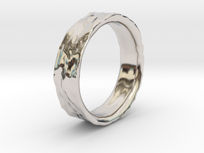 Crater Ring in Rhodium Plated Brass
