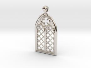 Gothic Window Pendant (L) in Rhodium Plated Brass