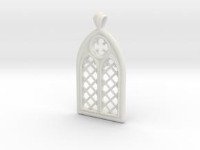 Gothic Window Pendant (L) in White Natural Versatile Plastic