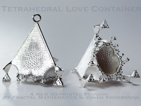 Tetrahedral Love Container Pendant in Raw Silver