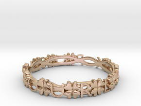 """Push Your Luck"" Clovers Bracelet in 14k Rose Gold Plated Brass"