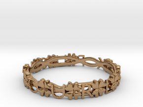 """Push Your Luck"" Clovers Bracelet in Polished Brass"