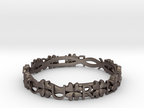 """Push Your Luck"" Clovers Bracelet in Polished Bronzed Silver Steel"