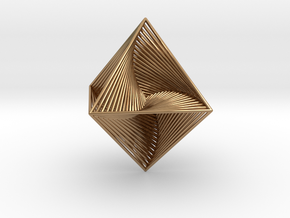0047 Octahedron Line Design (4.6 cm) #001 in Polished Brass