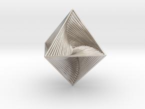 0047 Octahedron Line Design (4.6 cm) #001 in Rhodium Plated Brass