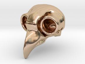Flame Owl Skull Pendant in 14k Rose Gold Plated Brass