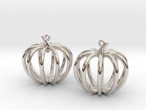 Pumpkin Earrings in Rhodium Plated Brass
